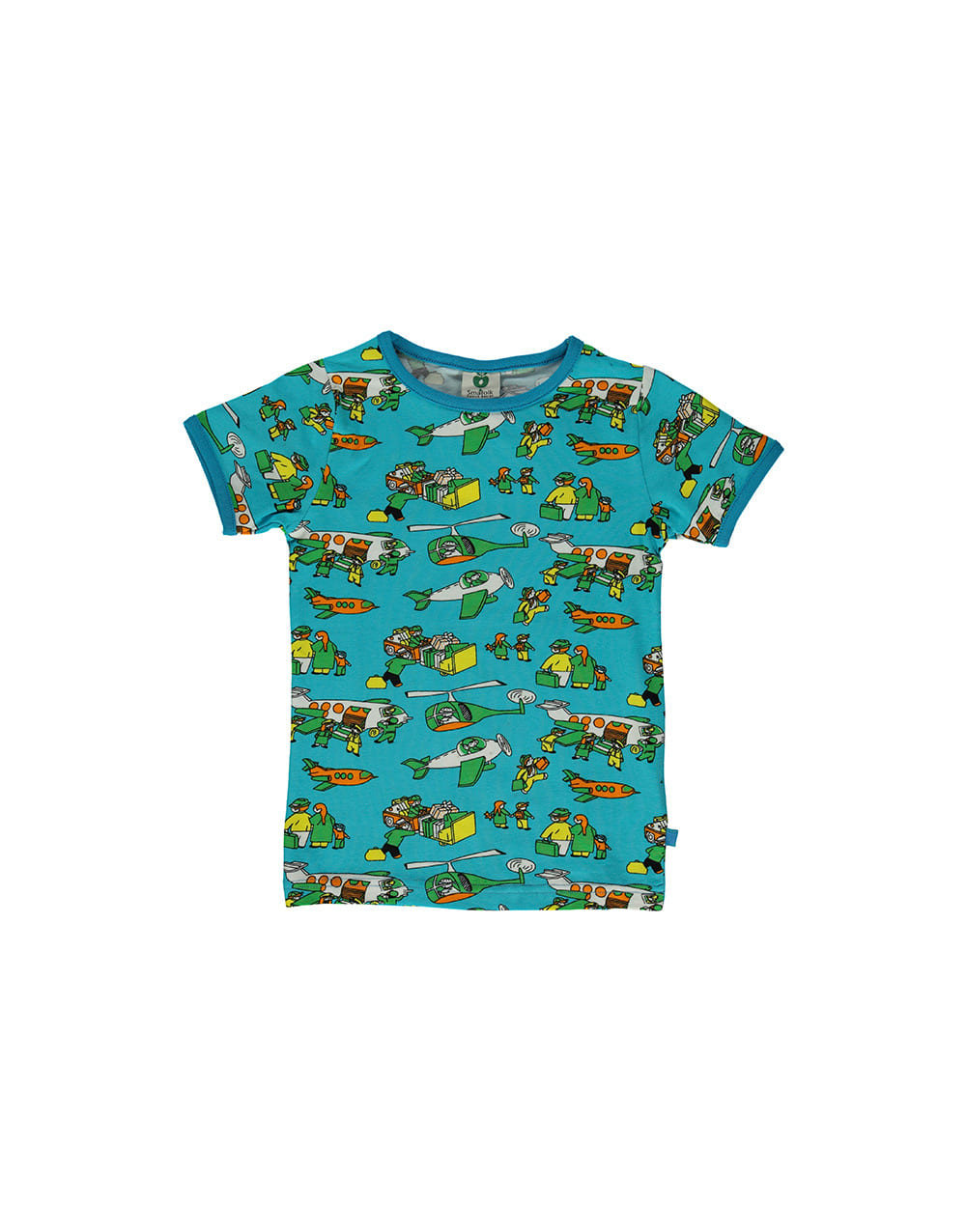 SMAFOLK  T-shirt with  Airport  Blue Atoll