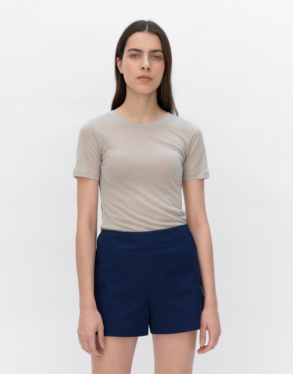 GBH APPAREL ADULT  See-through Stretch Top  KHAKI GREY