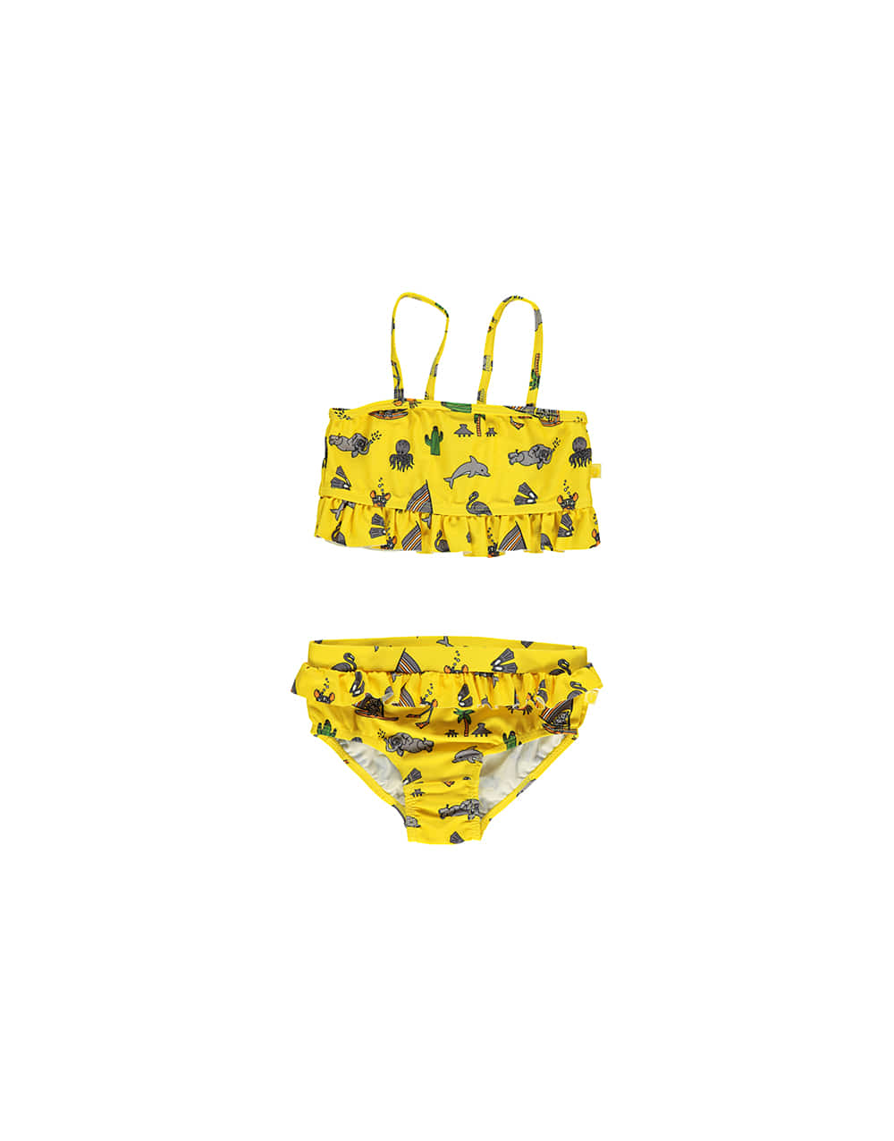 SMAFOLK  UV50 Bikini with ruffles and seaworld   Yellow