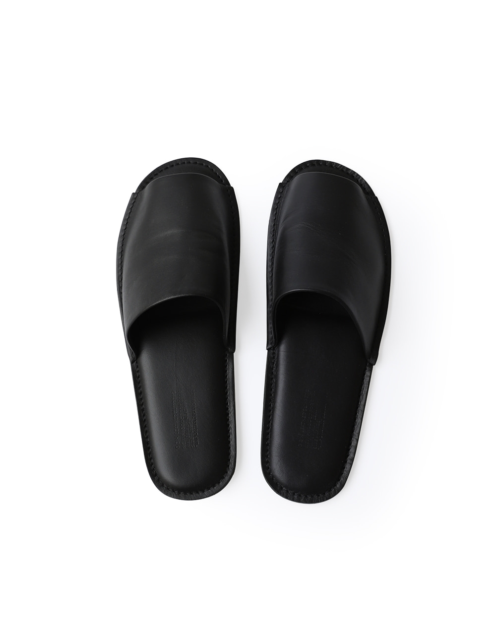 GBH HOME BLACK LEATHER SLIPPERS